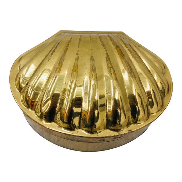 Vintage Brass Seashell Box For Sale