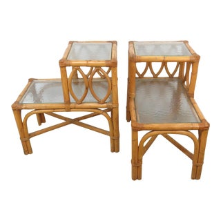Vintage Boho Chic Bamboo and Wicker Step Up End Tables With Glass Shelves - a Pair For Sale