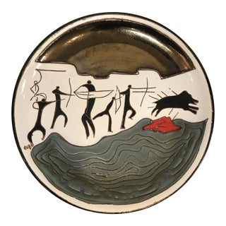 Mid-Century Porcelain Wall Hanging Plate by Eduardo Vega For Sale