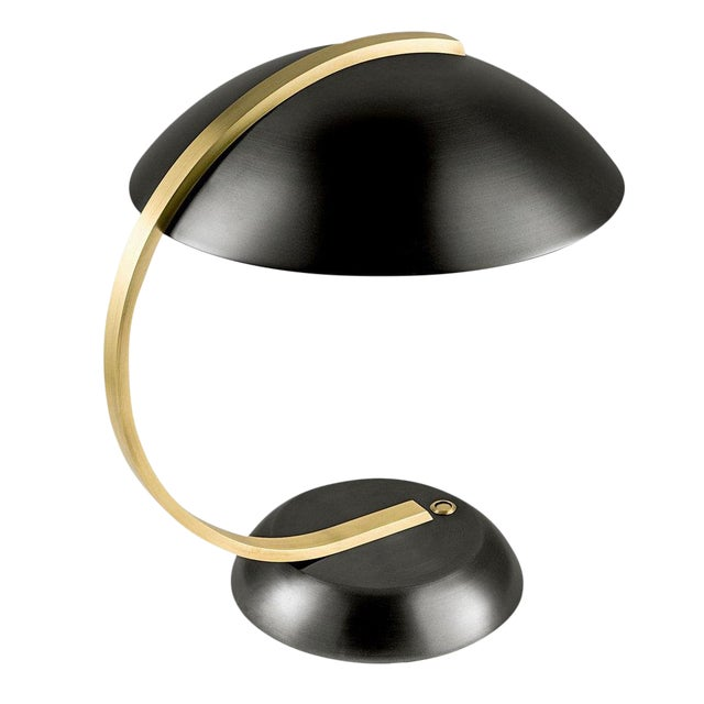 Desk Hub Lamp in Black Bronze With English Brass For Sale
