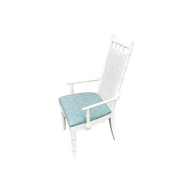 Wood White Lacquered Faux-Bamboo Wicker Back Vintage Dining Chairs - Set of 5 For Sale - Image 7 of 12
