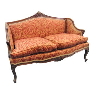 19th C Louis XV Style Carved Walnut Settee For Sale