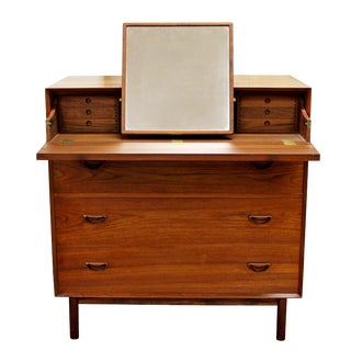 1950s Mid-Century Danish Modern Peter Hvidt Teak Vanity Dresser Cabinet For Sale