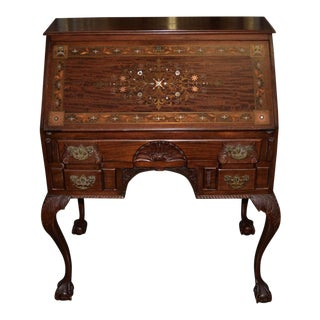 Late 19th to Early 20th Century Art Nouveau Drop Front Bureau W/ Inlay For Sale