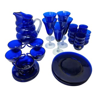1950s Vintage Cobalt Blue Tea, Wine and Glassware Set - Set of 29 For Sale