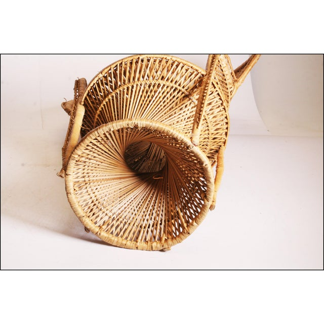 Vintage Boho Chic Wicker Peacock Chair For Sale - Image 11 of 11