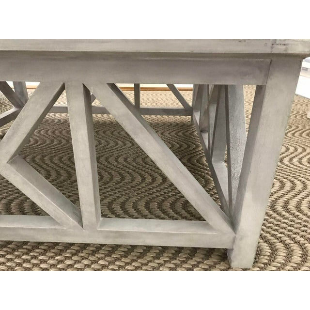 X Base Mirrored Top Wood Coffee Table - Image 6 of 8