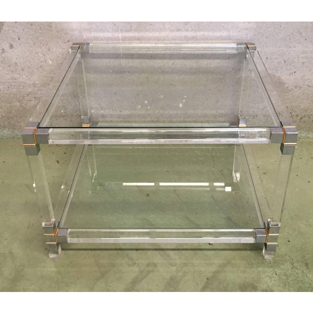 Midcentury Square Lucite Coffee Table With Chromed Metal Details For Sale - Image 10 of 13