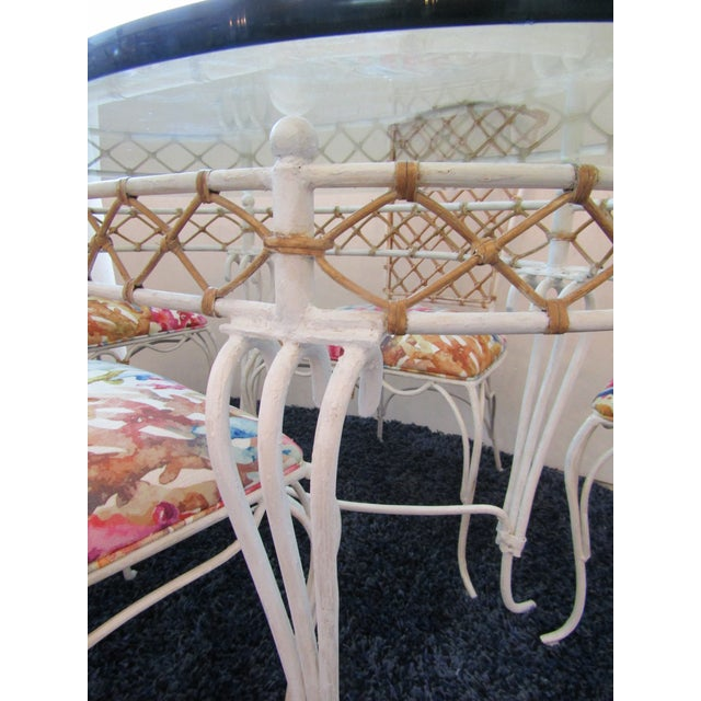 20th Century Boho Chic Iron & Rattan Dining Set - 5 Pieces For Sale In West Palm - Image 6 of 10
