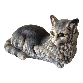 Vintage Ceramic Lounging Cat Figurine For Sale