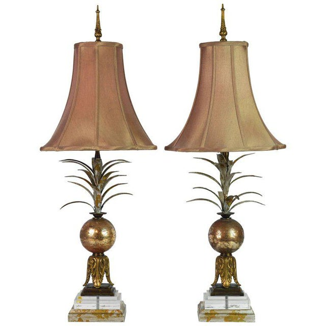 Pair of Vintage Tropical Themed Distressed Gilt Table Lamps by John Richard For Sale - Image 12 of 12
