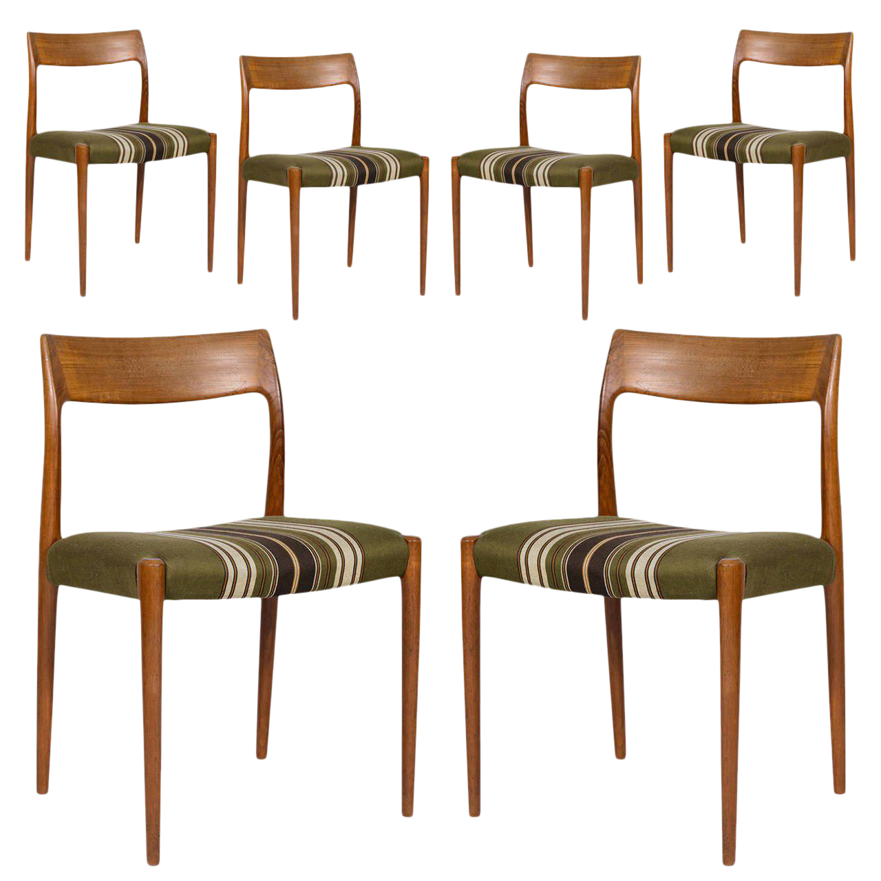 Set Of Six Niels Møller Model #77 Dining Chairs   Image 1 Of 9