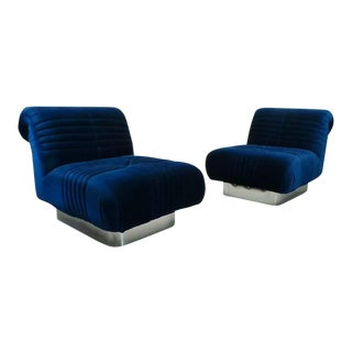 1970s Mid Century Modern Blue Velvet Slipper Chairs - a Pair