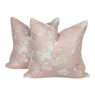 Blush Pink Chinoiserie Cherry Blossom Pillows, a Pair For Sale