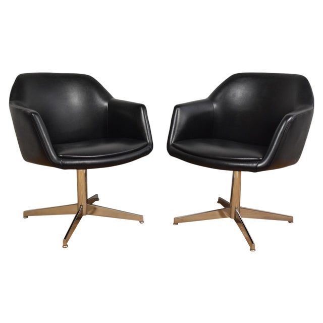 Steelcase Black & Chrome Lounge Chairs - A Pair - Image 1 of 9