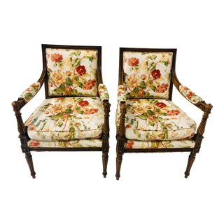 Pair of French Walnut Chairs Att. Beacon Hill For Sale