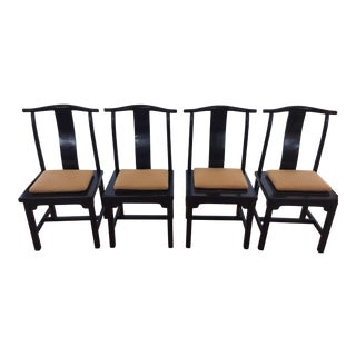 Vintage Ming Style Black Lacquer Dining Chairs - Set of 4 For Sale