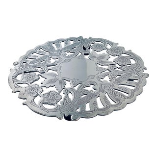 1960's Vintage Footed Silver-Plated Trivet by Wallace Silversmiths For Sale