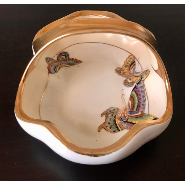 White Vintage Hand Painted Butterfly Nippon Decorative Basket Catchall For Sale - Image 8 of 11