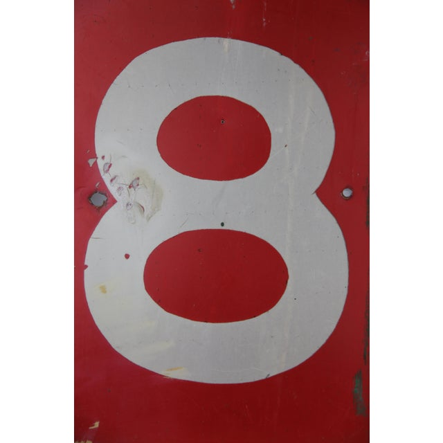Red Vintage Number 8 Red Metal Sign From Airplane Hanger For Sale - Image 8 of 10