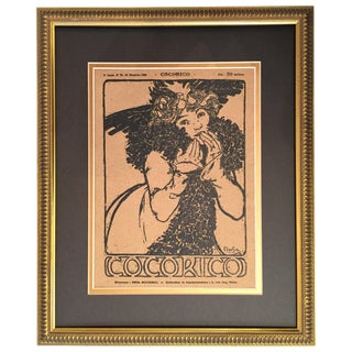Framed 1899 Original Alphonse Mucha Cocorico Cover For Sale