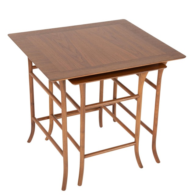 Walnut Nesting Tables Inspired by T.H. Robsjohn-Gibbings, Circa 1990s - a Pair For Sale