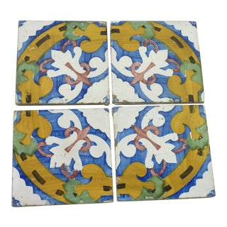 Antique Italian Hand Painted Tiles - Set of 4 For Sale