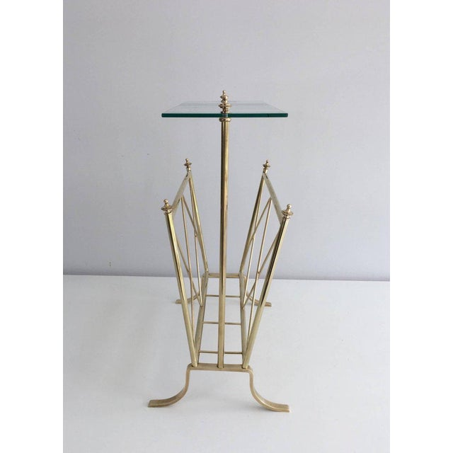 Neoclassical 1940s French Brass and Glass Magazine Rack, Attributed to Maison Jansen For Sale - Image 3 of 11