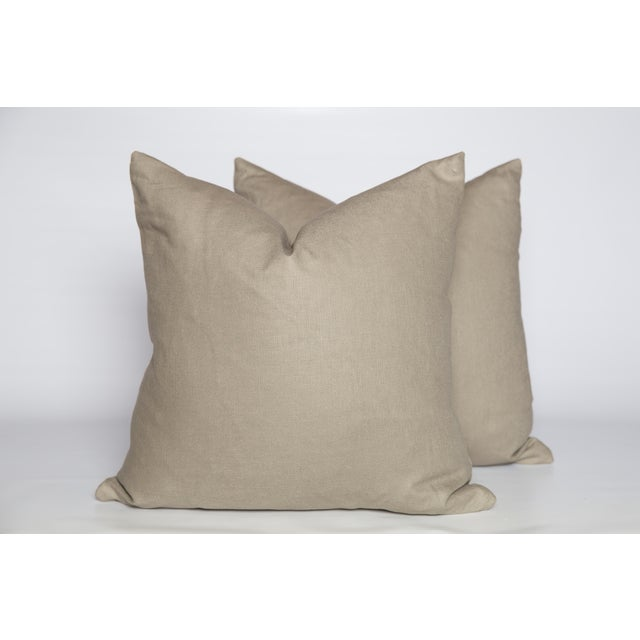 Cream Linen Black and Ivory Greek Key Pillows, a Pair For Sale - Image 4 of 6