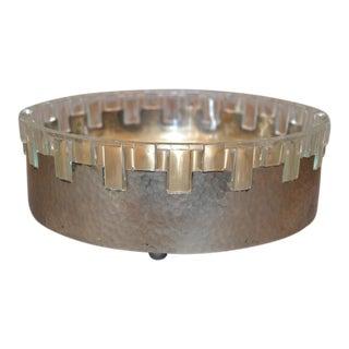 Vintage Lead Crystal & Hammered Metal Decorative Bowl, Serving Bowl, England For Sale