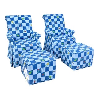 1980s Vintage Blue and White Check Slipper Arm Chair & Ottoman - 4 Pieces For Sale
