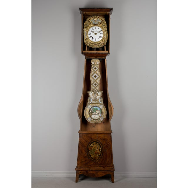French Provincial 19th Century French Comtoise Grandfather Clock With Automated Pendulum For Sale - Image 3 of 11
