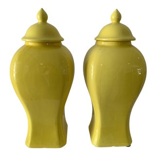 1990s Yellow Temple Jars - a Pair For Sale