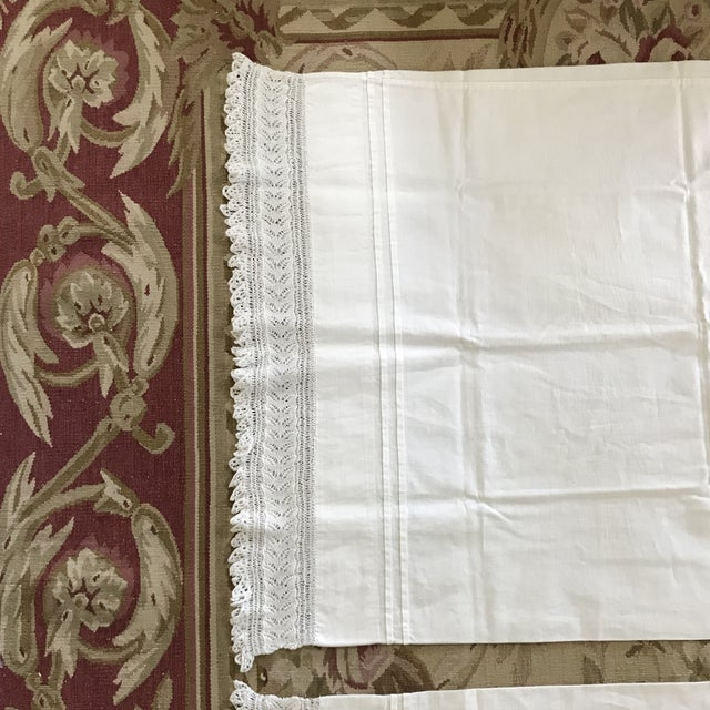 20th Century Cottage White Pillowcases - A Pair For Sale - Image 4 of 8