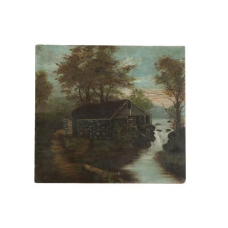 Vintage Cottage Scene Painting For Sale