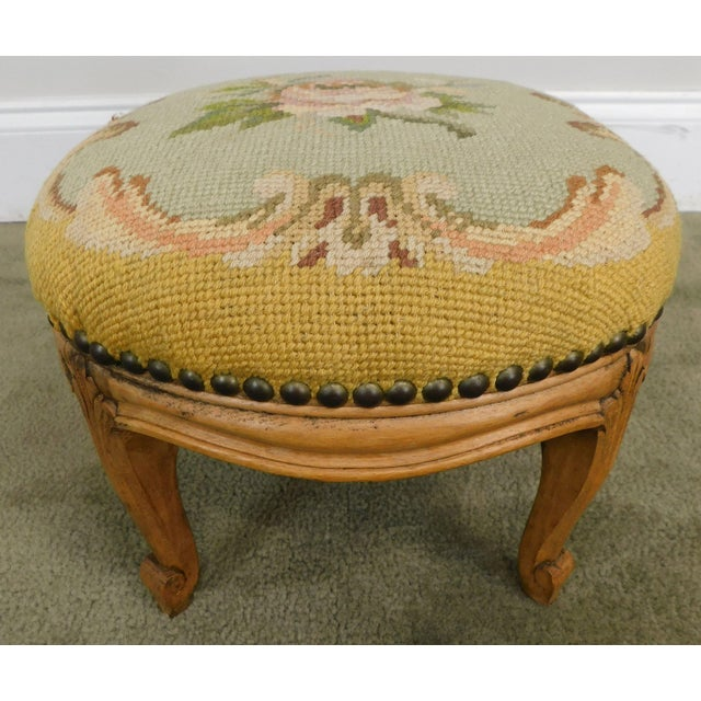 French Louis XV Style Antique Small Needlepoint Footstool For Sale - Image 4 of 13