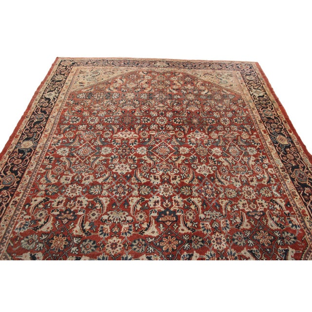 Early 20th Century Early 20th Century Antique Persian Mahal Rug-8′9″ × 10′5″ For Sale - Image 5 of 11