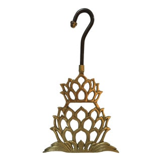 Vintage Pineapple Shaped Brass Fireplace Damper Pull For Sale