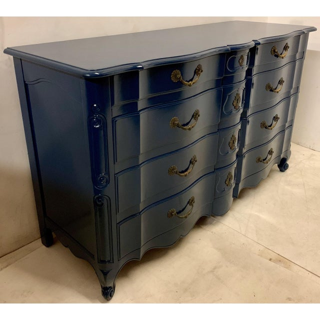 Navy Lacquered John Widdicomb French Style Chest For Sale In Atlanta - Image 6 of 12