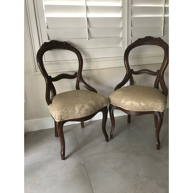 Beautiful hand-carved balloon back chairs. Both in a reddish-brown mahogany  with - Antique Balloon Back Chair Chairish