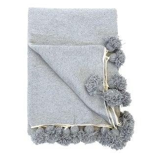 Boho Chic Moroccan Gray Cotton Pom Pom Blanket