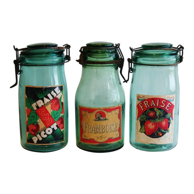 1930s French Canning Preserve Jars w/ Labels & Lids - Set of 3 - Image 1 of 8