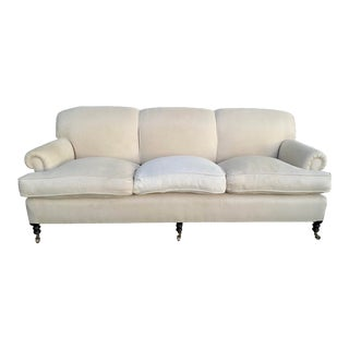 George Smith Short Scroll Arm Sofa For Sale