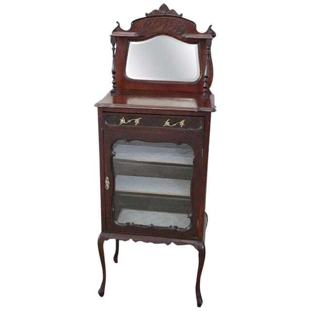 19th Century English Mahogany Carved Antique Vitrine or Display Cabinet For Sale