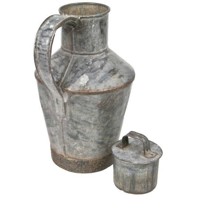 French Country French Zinc Milk Jug For Sale - Image 3 of 3