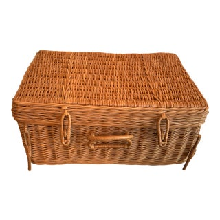 1950s Ingrid Ltd. Picnic Basket With Flatware for 2 For Sale