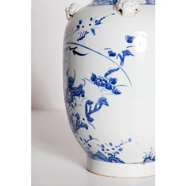 19th Century 19th Century Chinese Blue and White Qing Period Vase With Foo Dog Heads For Sale - Image 5 of 13