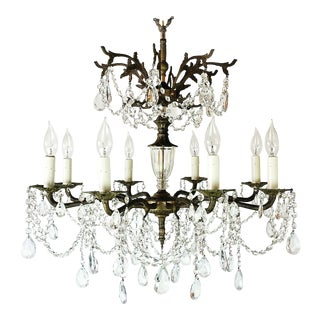 1920s Baroque Cast Bronze 8-Light Winter Chateau Crystal Chandelier For Sale