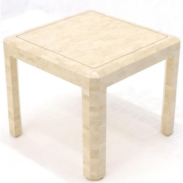 Mid-Century Modern tessellated side end table on four legs by Maitland Smith.