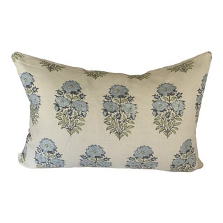 Lisa Fine Mughal Flower Blue and White Hand Printed Linen Pillow For Sale